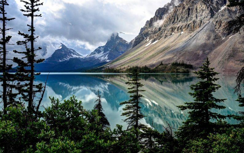 landscape lake mountains trees reflection wallpaper