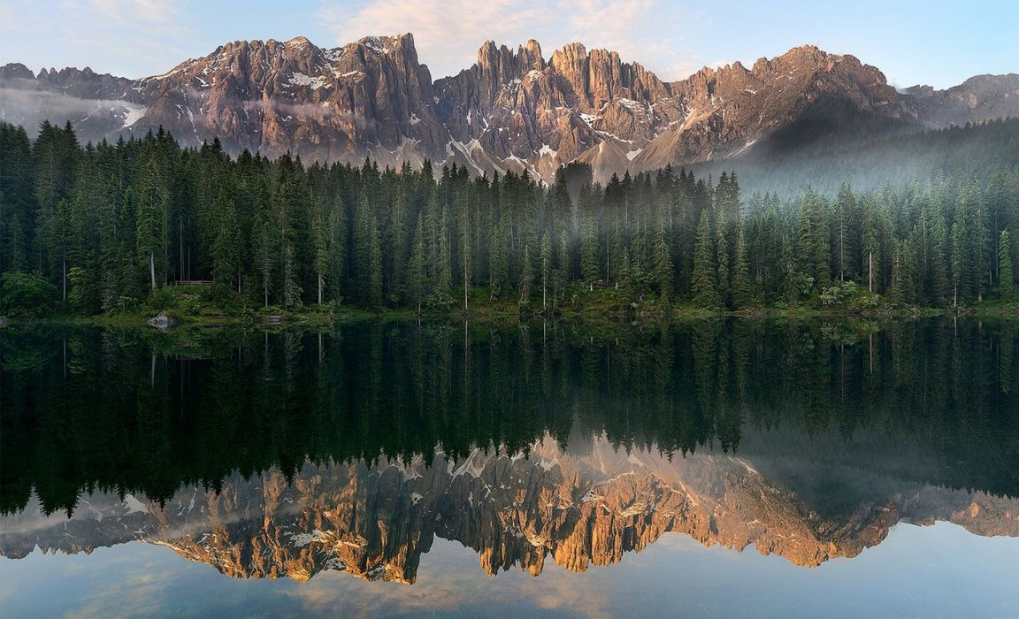 landscape mountain forest lake reflection Italy wallpaper