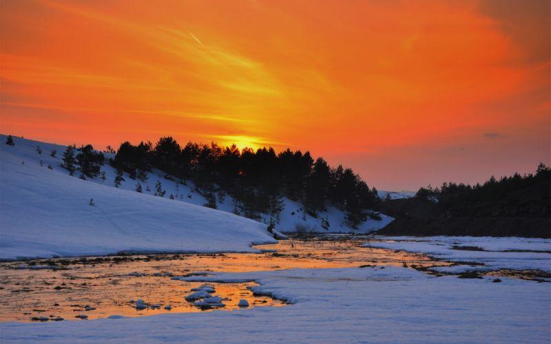 river sunset snow hills trees winter reflection wallpaper