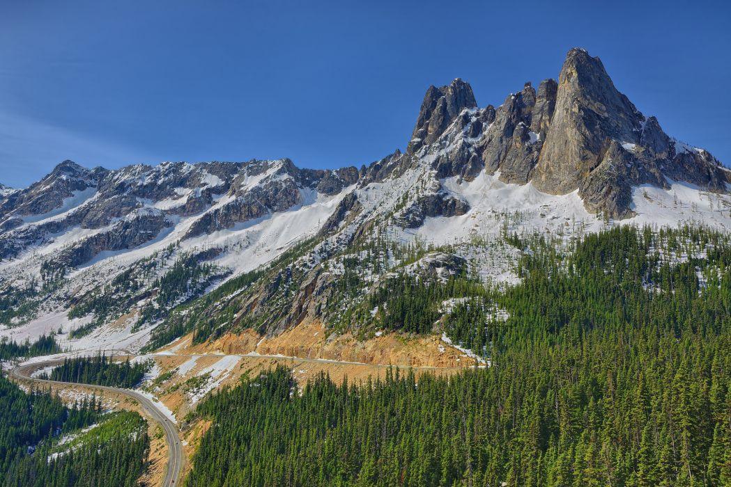 Washington mountains forest road wallpaper