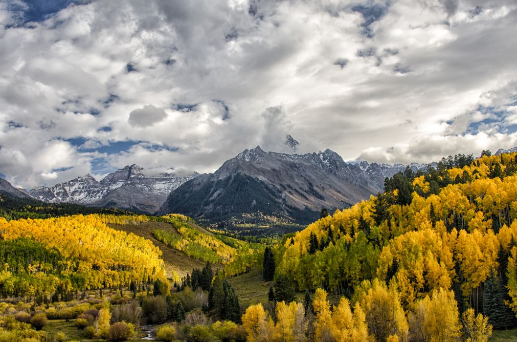 Colorado fall mountains forest clouds autumn wallpaper