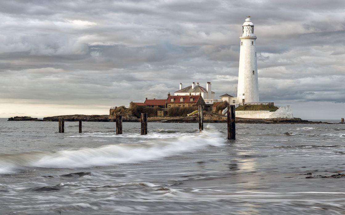 Whitley Bay island lighthouse sea wallpaper