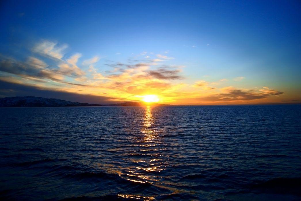 nebo sunset mood reflection ocean sea wallpaper