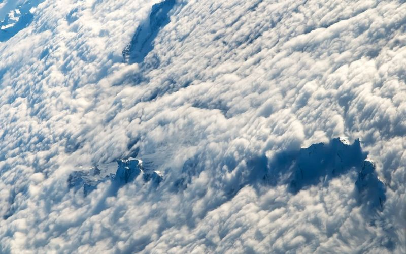 Aerial Clouds Mountains wallpaper
