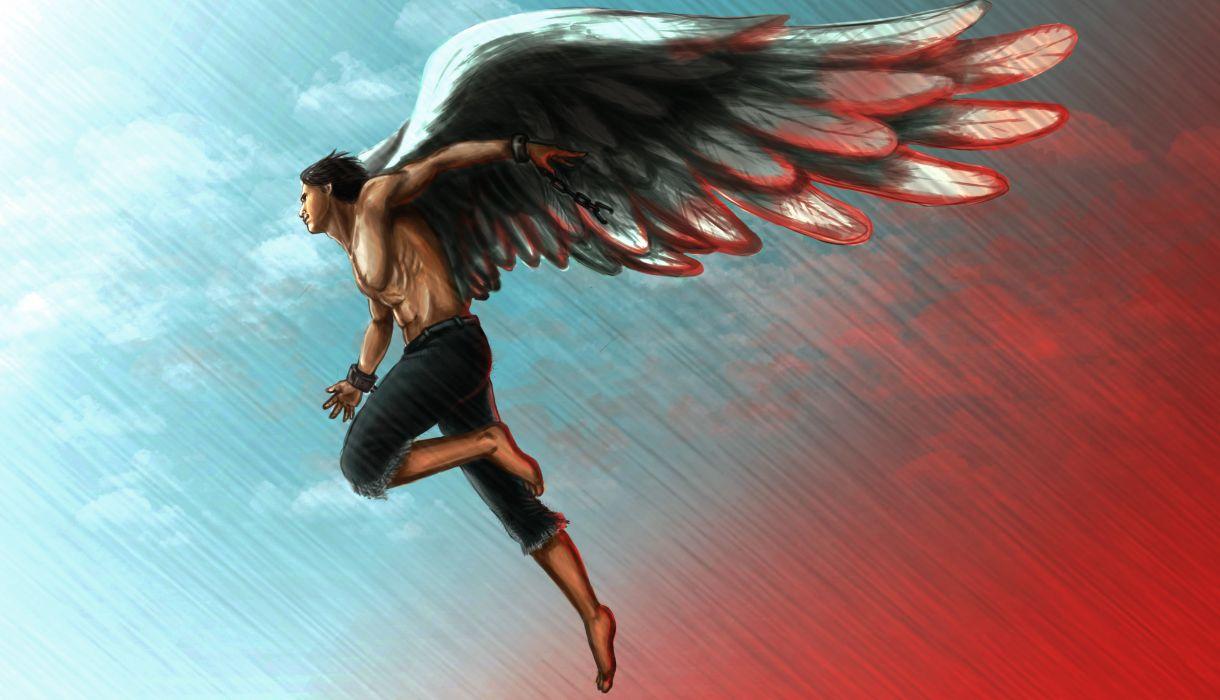 Angels Men Painting Art Wings Fantasy angel wallpaper