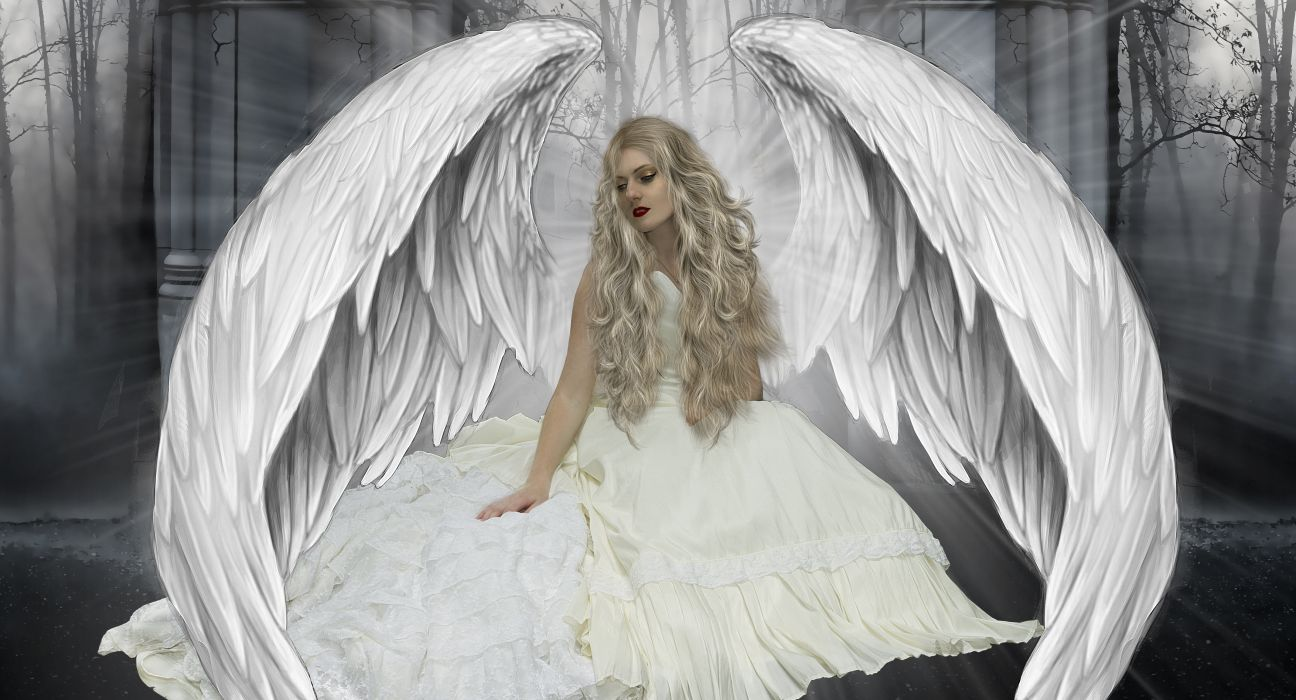 Angels Wings Blonde girl Fantasy Girls angel gothic mood wallpaper
