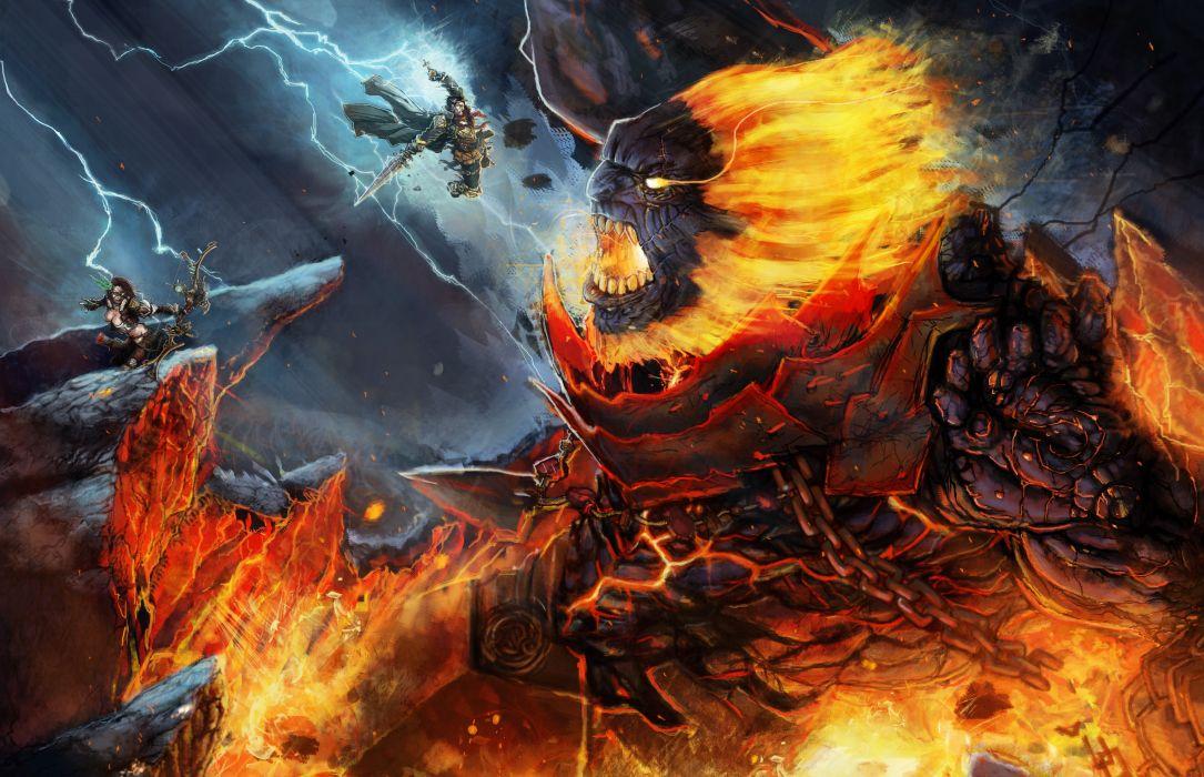 Battles Monsters Fantasy battle wallpaper
