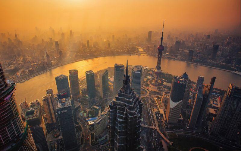 Buildings Skyscrapers Shanghai River wallpaper