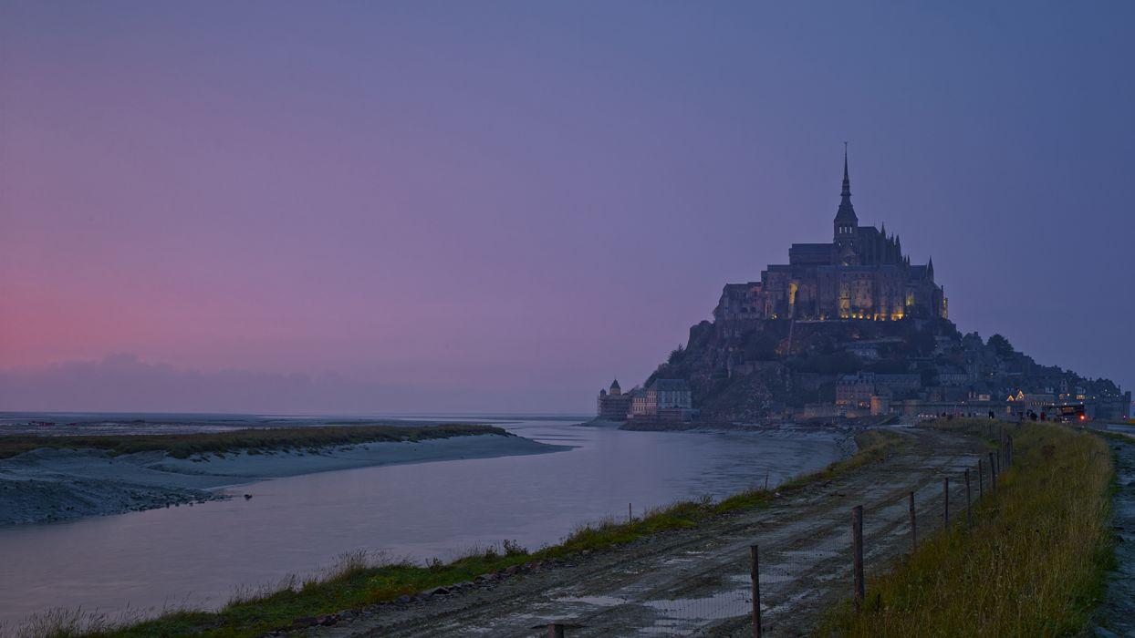 Castle Shore Path Trail Le-Mont Saint Michel France wallpaper