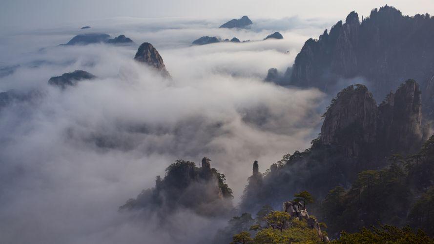 Clouds Landscape Mountains wallpaper