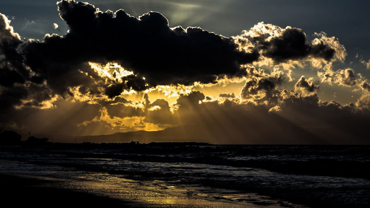 Clouds Sunlight Beach Ocean wallpaper
