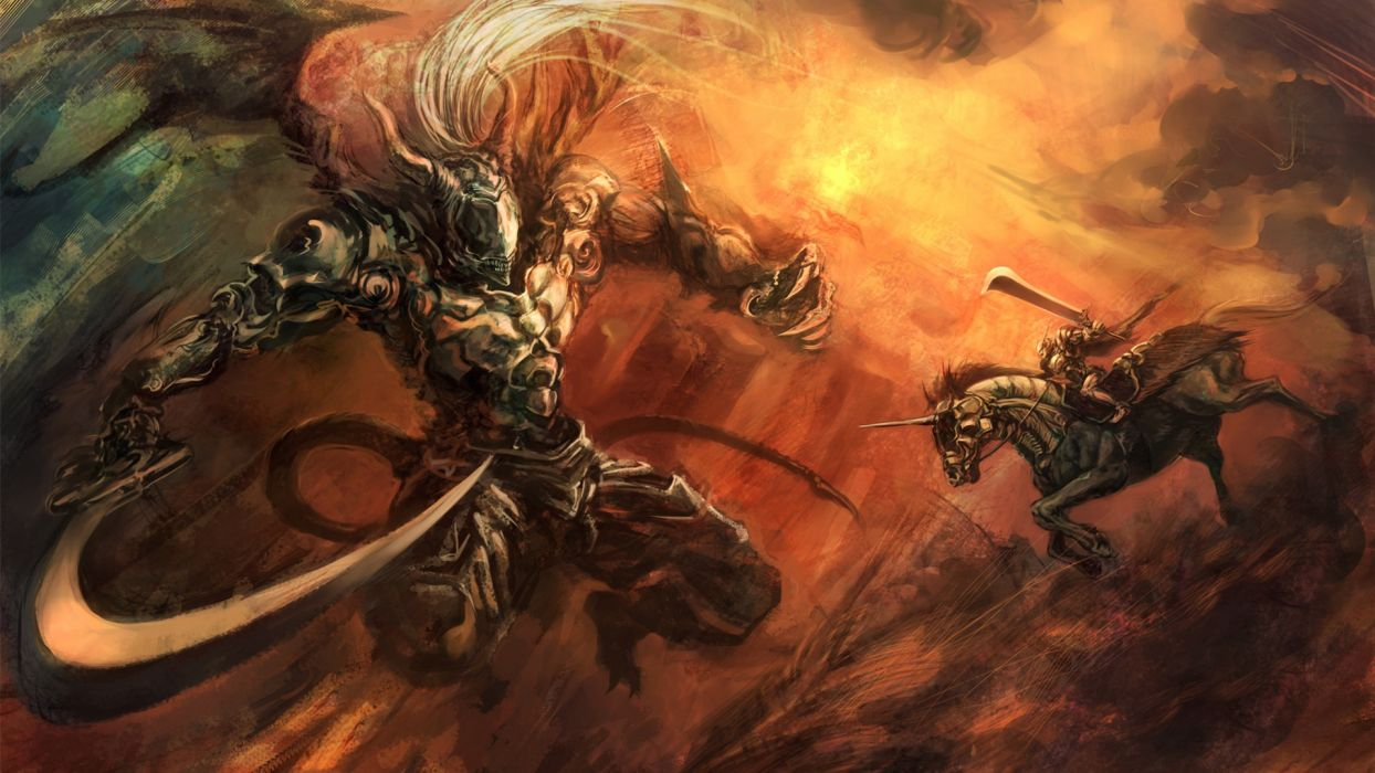 Demon Darksiders Drawing Sword warrior fantasy wallpaper