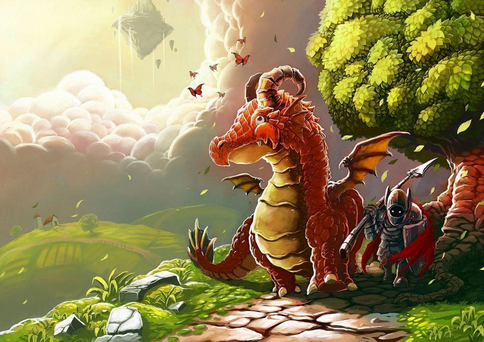 Dragons Horns Fantasy dragon warrior wallpaper