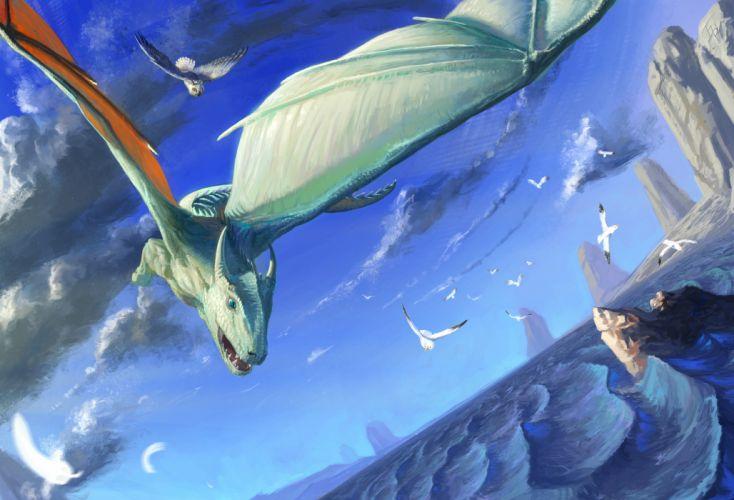 Dragons Sky Flight Fantasy Dragon wallpaper