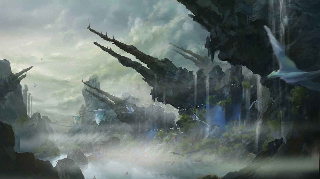 Fantastic world Crag Fantasy magical creatures creature wallpaper