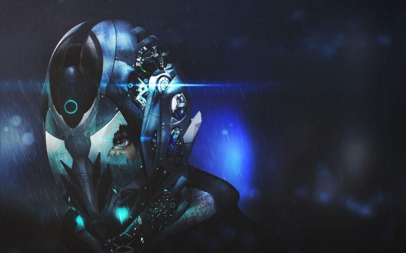 Helmet Broken Rain sci-fi astronaut cracked eyes wallpaper
