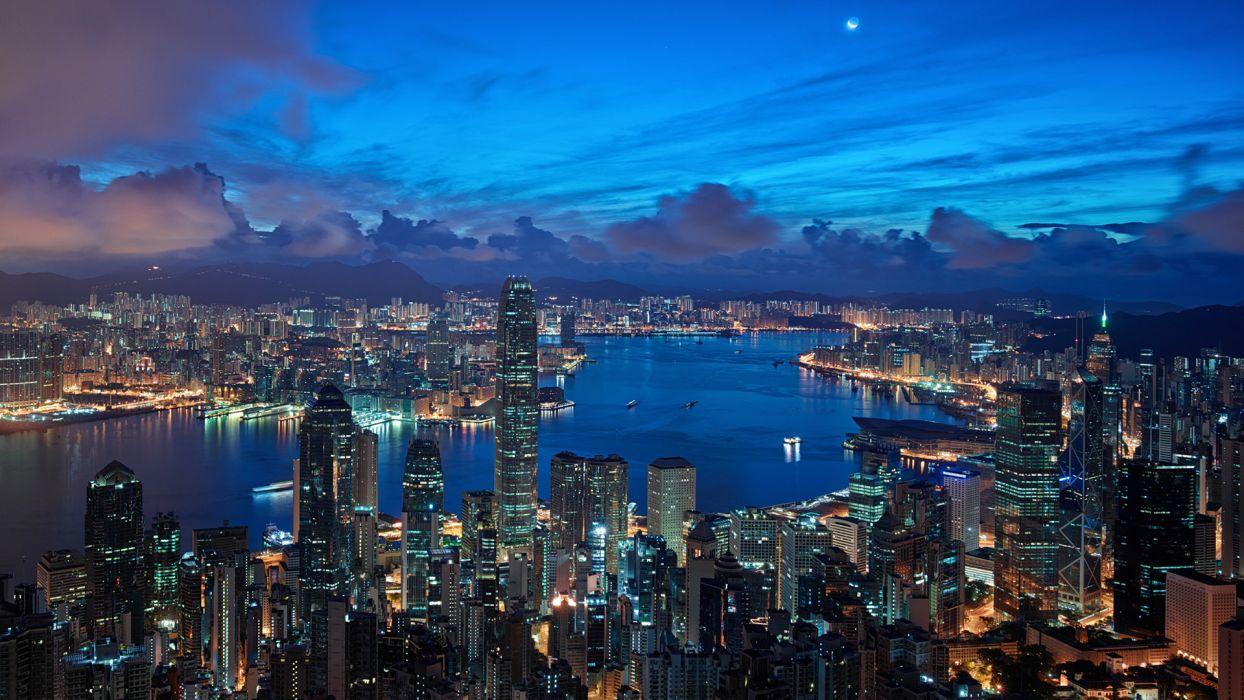 Hong Kong Buildings Skyscrapers Night Clouds wallpaper