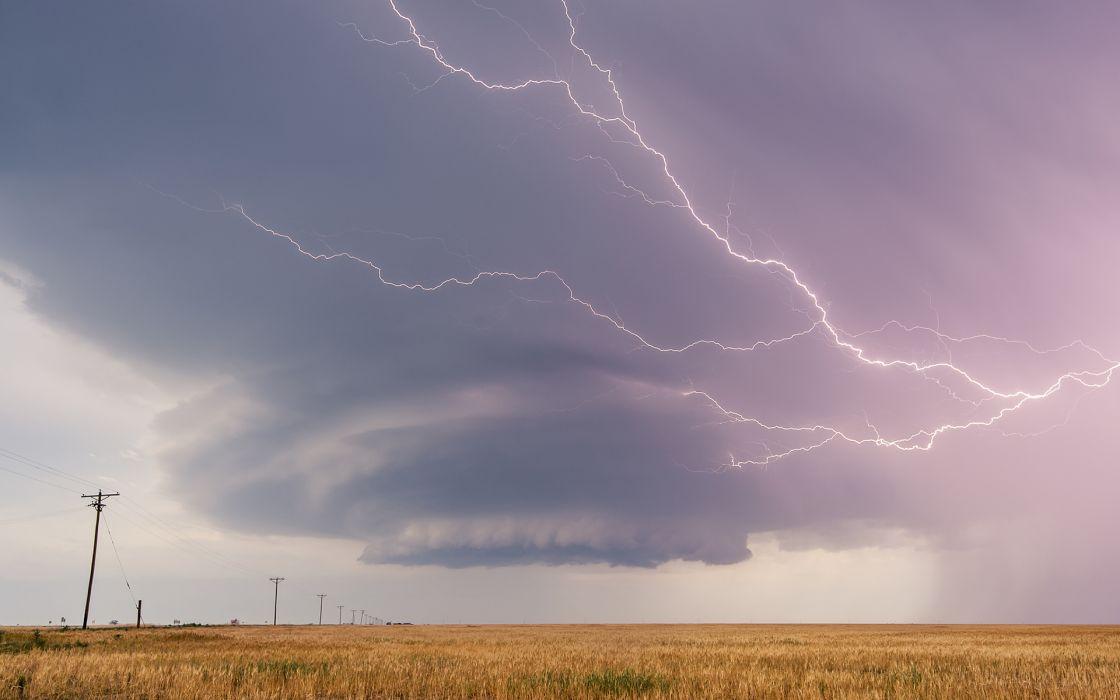 Lightning StormClouds Field rain wallpaper