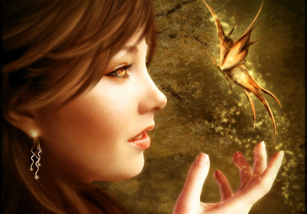 Magic Butterflies Face Fantasy Girls butterfly magical bokeh wallpaper