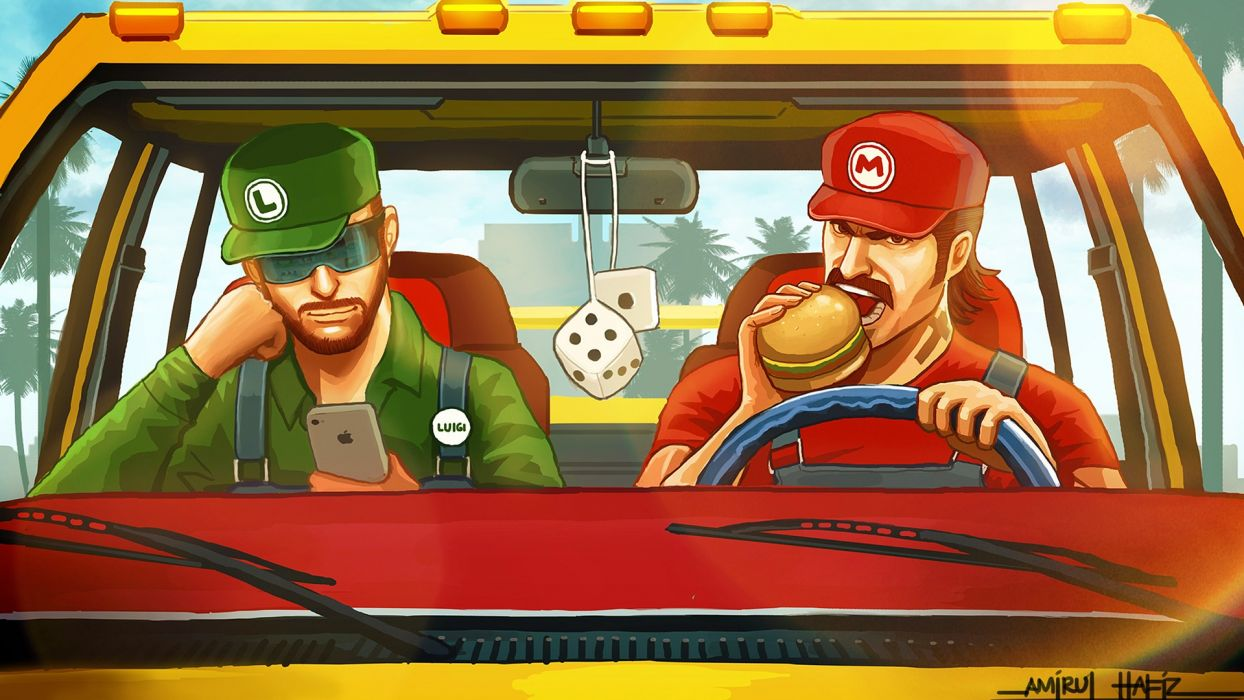 Mario Luigi Hamburger iPhone Dice game games humor funny wallpaper