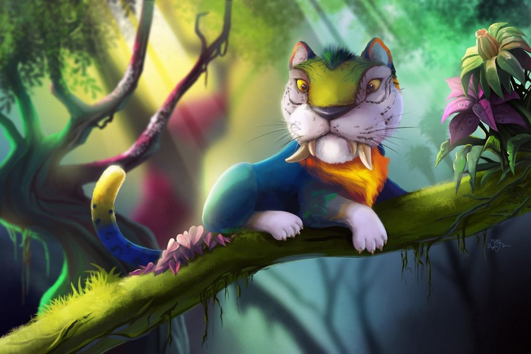 Magical animals Tigers The Croods Branches Fantasy Cartoons tiger parrot wallpaper