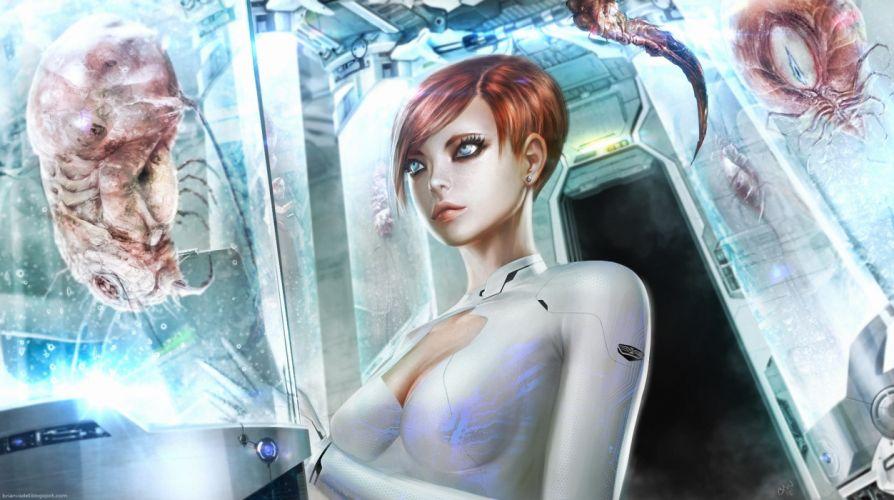 Monsters Fantasy Girls alien aliens sci-fi robot robots cyborg cyborg wallpaper