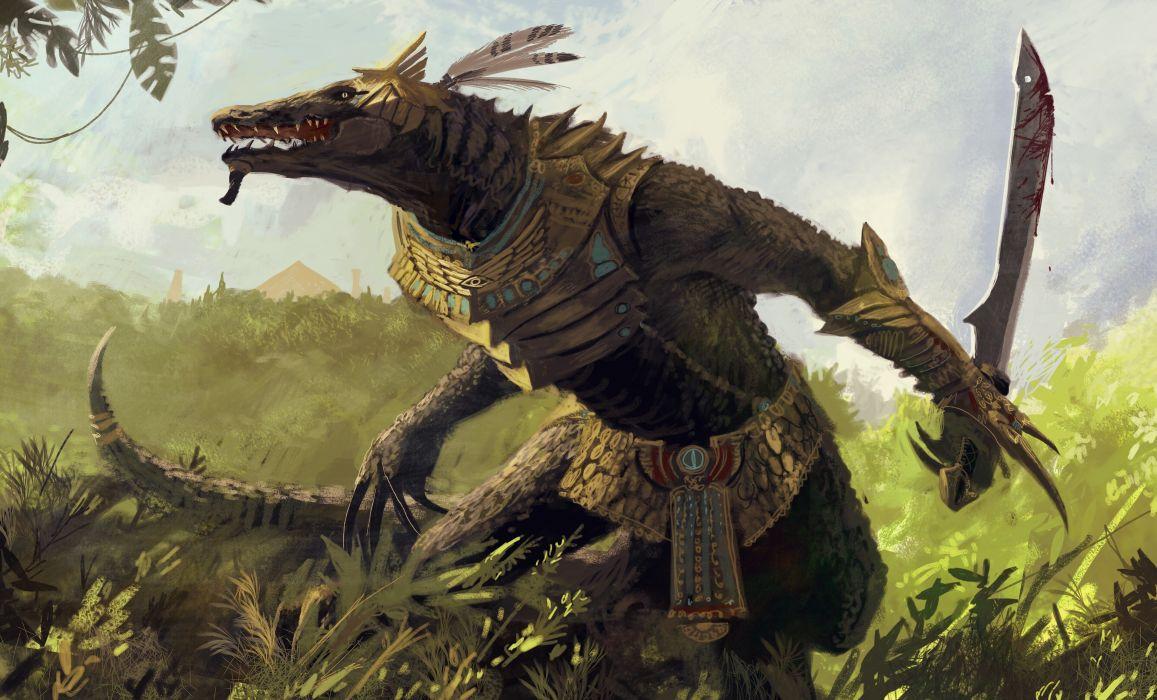 Downaload Overlord King And Warriors Art Wallpaper: Monsters Warriors Reptiles Fantasy Monster Warrior Blood