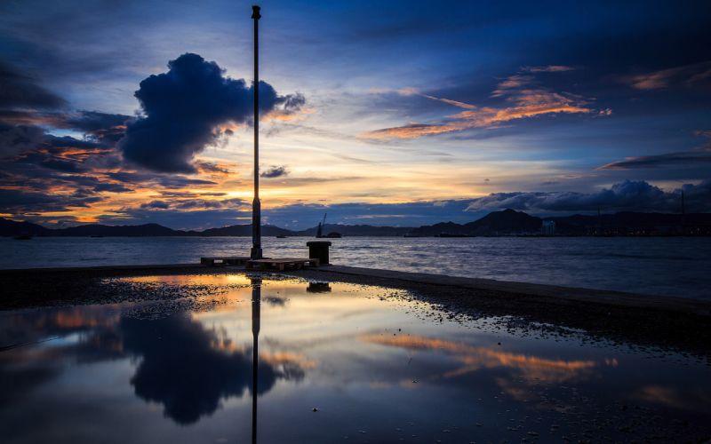 Ocean Sunset Clouds Reflection wallpaper