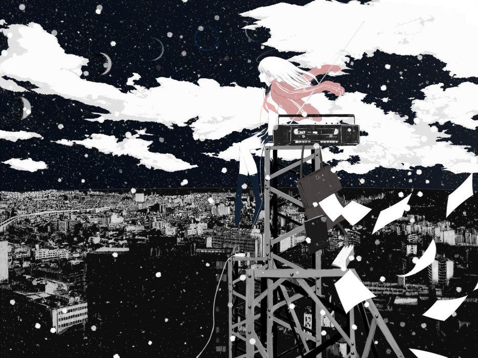 original clouds emukami paper polychromatic scenic sky thighhighs wallpaper