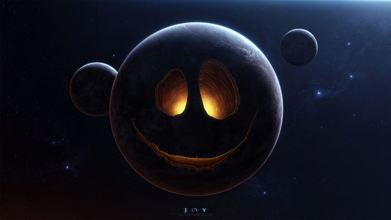 Planet Face Stars humor funny smiley space halloween wallpaper