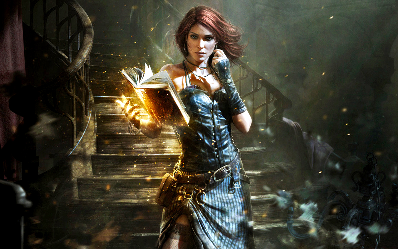 Stunning Hd Fantasy Gaming Desktop Wallpapers: Redhead Magic Book Fantasy Witch Wallpaper