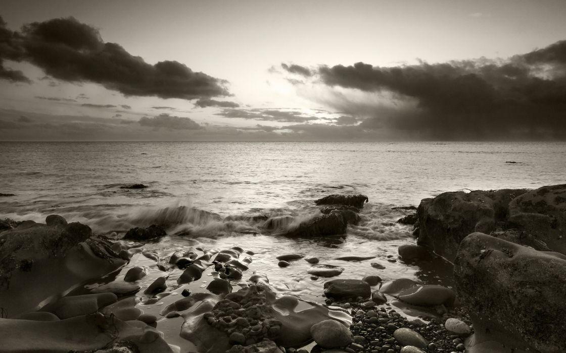 Sepia Beach Shore Rocks Stones Ocean Clouds wallpaper