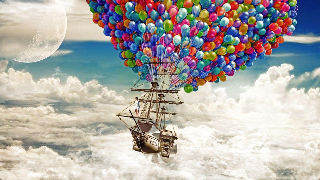 Ship Sail Ship Schooner Balloons Clouds Moon balloon fantasy boat bokeh wallpaper