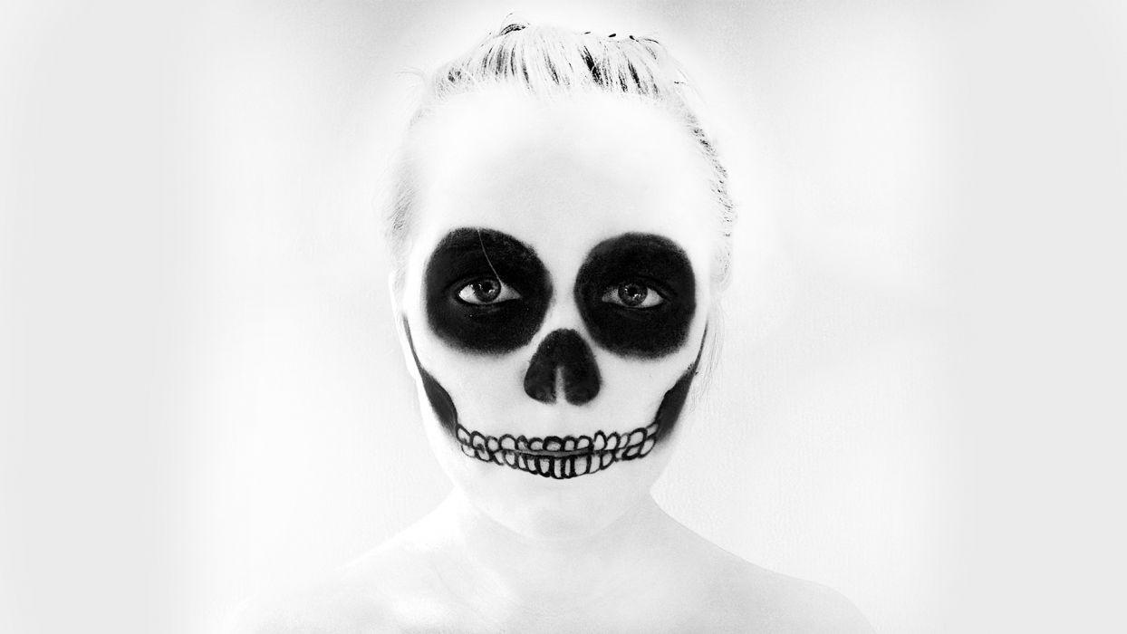Skull Makeup B-W Face dark skulls halloween wallpaper