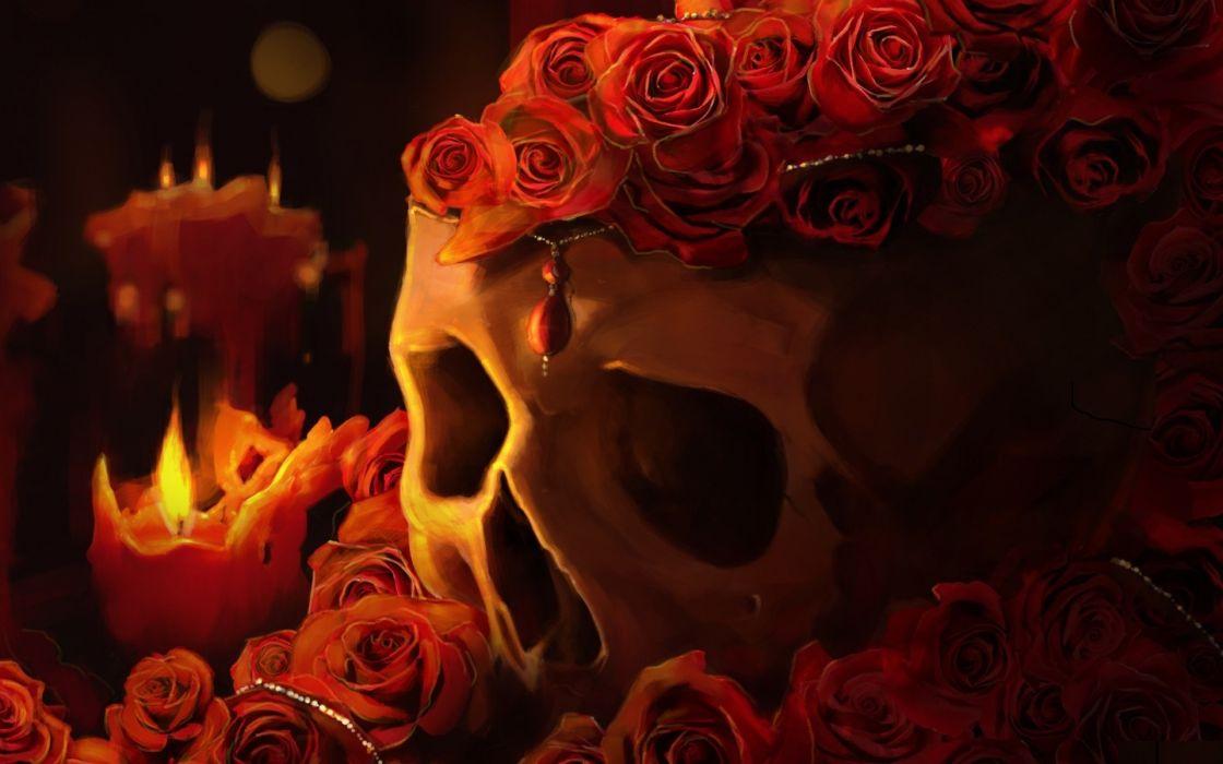 Skulls Roses Candles Fantasy candle skull goth gothic fire dark wallpaper