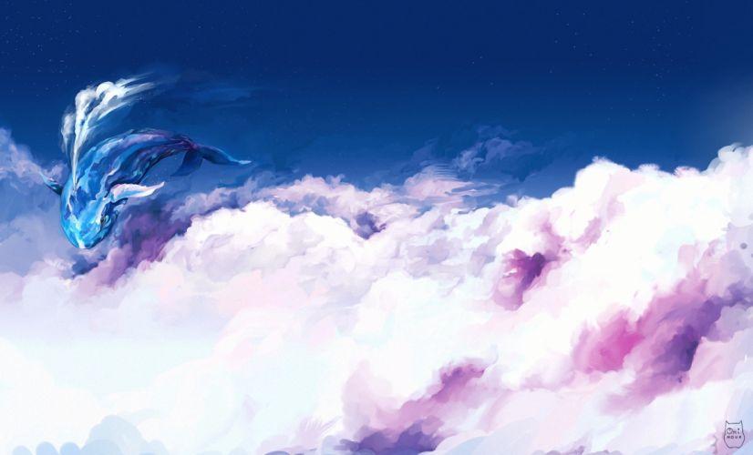 Sky Clouds Fantasy whale magical bokeh wallpaper
