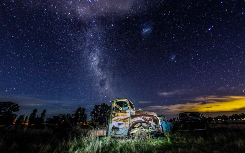 Stars Night Galaxy Milky Way Trucks Abandon Deserted Classic Car Classic truck ruins decay sky wallpaper