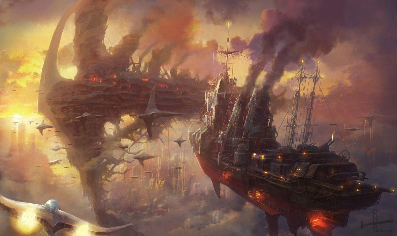 Steampunk Ships Fantasy sci-fi wallpaper