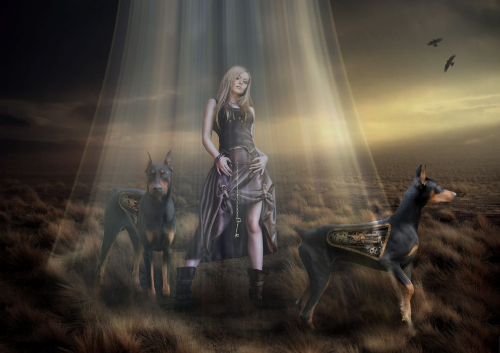Technics Dogs Doberman Pinscher Rays of light Robot Fantasy Girls sci-fi cyborg cyborgs robots steampunk wallpaper