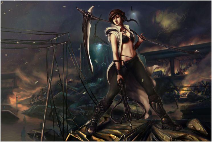 Warriors Scythe Fantasy Girls warrior dark apocalyptic sci-fi wallpaper