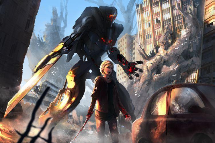 Warriors Robot Fantasy warrior sci-fi mecha mech wallpaper