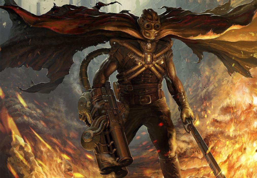 Warriors Steampunk Armor Fantasy warrior weapon dark sci-fi wallpaper