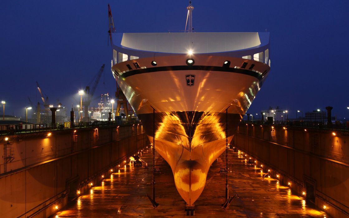 Bore sea port night ship vessel anchores dock lights dry dock wallpaper