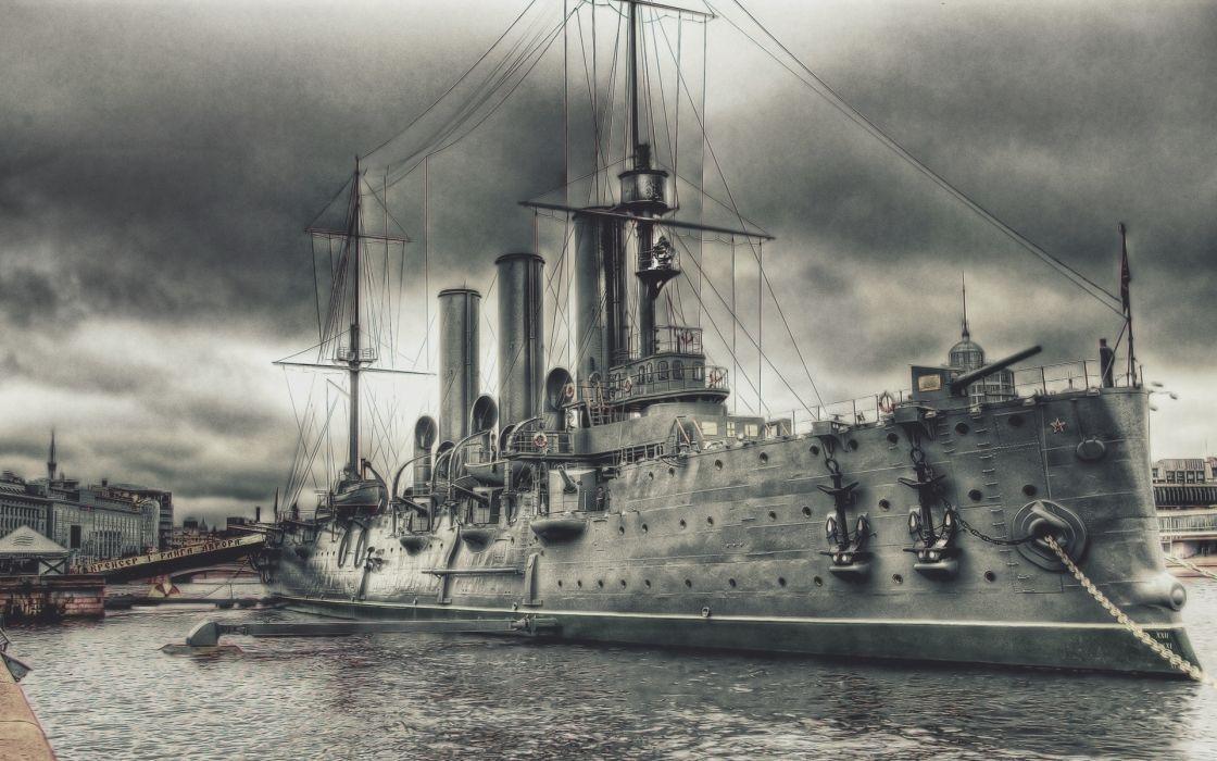cruiser Aurora drawing navy military wallpaper