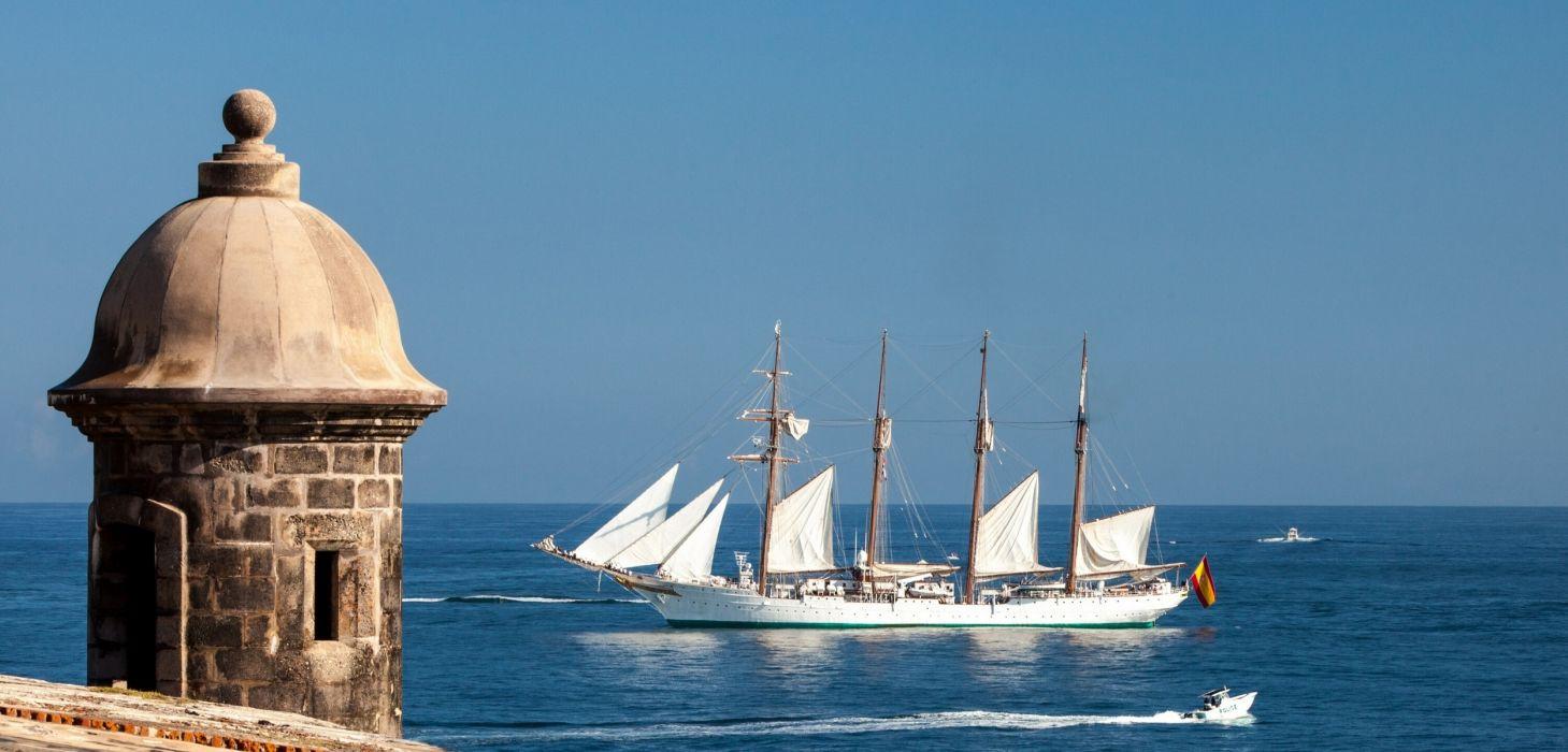 Juan Sebastian de Elcano sailboat schooner wallpaper