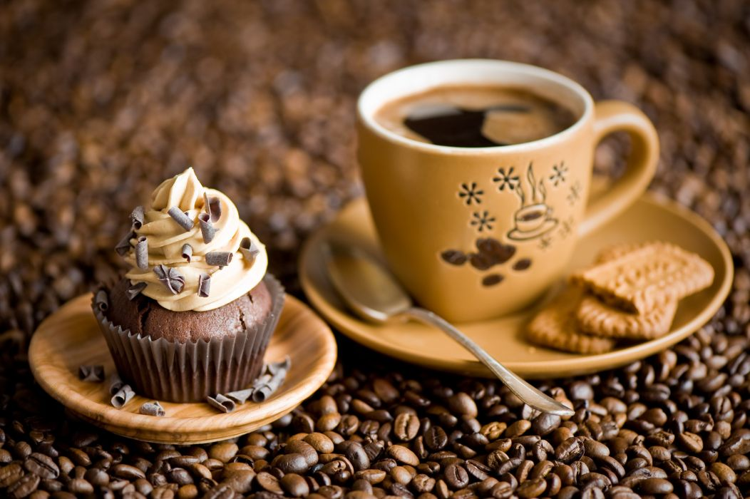 muffin coffee beans cookies cup wallpaper