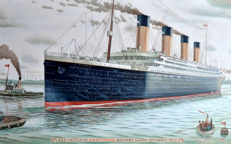 ship boat titanic painting wallpaper