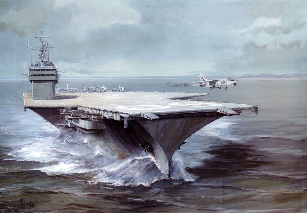 Ships Painting Art Saratoga CVA-60 carrier military wallpaper
