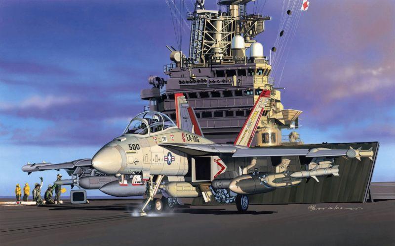 Ships ship boat Painting military navy jet jets wallpaper