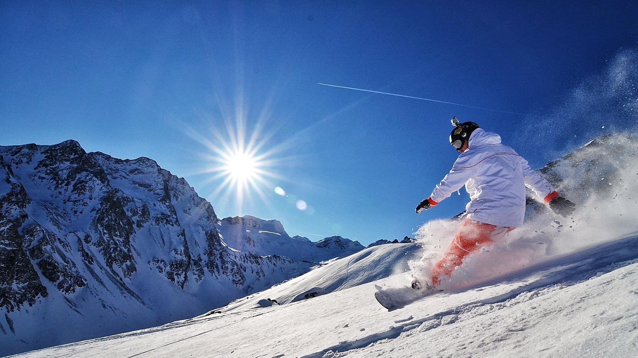 Snowboarding sun mountains snowboard snow wallpaper ...